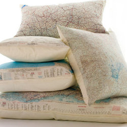 Silk Aviator Map Cushion By Atelier688 - These map cushions, made from original Cold War silk aviator maps, would be perfect as accents on a bed or chair.