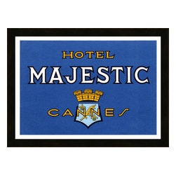Soicher-Marin - Hotel Majestic - Giclee print with a java brown contemporary wood frame.  Includes glass, eyes and wire. Made in the USA. Wipe down with damp cloth