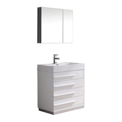"Fresca - Fresca Livello 30"" White Vanity w/ Medicine Cabinet - Dimensions of vanity:  29.38""W x 18.75""D x 33.5""H. Dimensions of medicine cabinet:  29.5""W x 26""H x 5""D. Materials:  MDF with acrylic countertop/sink with overflow. Soft closing drawers. Single hole faucet mount. P-trap, faucet, pop-up drain and installation hardware included. The Livello 30"" vanity features four pull out drawers that come equipped with slow closing hinges.  Its sink is made with a durable acrylic material that is less likely to break then tradition ceramic, it also cleans better.  This vanity's minimal design will make your bathroom feel like a modern oasis."