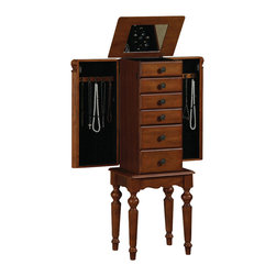 "Powell - Powell Lightly Distressed Deep Cherry Jewelry Armoire - This petite jewelry armoire is sized for economy and function. Features a lightly distressed ""Deep cherry"" finish with flip top and inset mirror, scalloped skirt, and spindle turned legs. The top compartment is divided with half ring pads and half two squares. There are side swing doors with fully lined interior compartment and one row each of five chain necklace hooks and matching rayon cord. There are three small and two large drawers. The first drawer has six squares and the second has four. The third, fourth and fifth drawers are open and fully lined. Lining is plush black, 100% rayon. Top and legs assembly required."