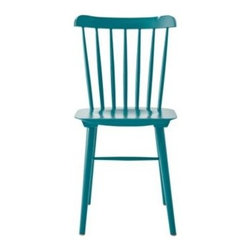 Serena & Lily - Tucker Chair Turquoise - An iconic silhouette gets an update with our signature colors. Our downsized version has the curved back of a traditional Windsor, but its compact frame gives it a modern edge. There's even a little dip in the seat to cradle you in comfort. Go fun or go formal we've got shades that suit both looks. Gorgeously crafted of solid wood.   View dimensions