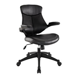 Modway - Modway EEI-1103 Stealth Mid Back Office Chair in Black - Versatility to match your mood makes Stealth a prime choice in office seating. A cushioned removable leatherette back reveals a dynamic and ventilated counterpart beneath. Padded leatherette arms and seating combine with adjustable height and tension knob to create the ultimate in personalized decor. Hooded dual wheel casters allow effortless gliding across any surface. Instead of just choosing of chair, elect to inaugerate Stealth into your space, and your work will never be the same.