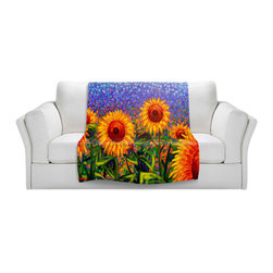 DiaNoche Designs - Throw Blanket Fleece - Sunflowers - Original Artwork printed to an ultra soft fleece Blanket for a unique look and feel of your living room couch or bedroom space.  DiaNoche Designs uses images from artists all over the world to create Illuminated art, Canvas Art, Sheets, Pillows, Duvets, Blankets and many other items that you can print to.  Every purchase supports an artist!