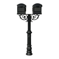 The Hanford Mailbox Post System Twin Post with Ornate Base #7 / Lewiston Mailbox - The The Hanford Mailbox Post System Twin Post with Ornate Base #7 / Lewiston Mailboxes / Scroll Supports lets you and your neighbor enjoy a set of matching mailboxes that emphasize your homes' classical exteriors. This unit is supported by a sturdy cast aluminum post, driven deep into the sod, soil, or concrete for long-lasting stability. An ornate decorative base is included as well as a pair of slinky scrolled accents. Two front-access mailboxes are provided, attaching easily to the mounting plate and featuring a flip-up flags and recessed rectangular frames on the front and sides for mounting or painted address numbers. Each component in the set is constructed from solid aluminum and is protected by a black powder-coated finish to prevent weather damage, scratches, and rust. Some minor assembly is required.About QualArcBased in Rancho Cordova, California, QualArc makes the things that mark your home. Using unique and beautiful weatherproof materials and industry-standard manufacturing processes, they create address plaques, mailboxes, and more that are built to last. Stone, aluminum, steel, granite and more come together to create high-quality markers with high curb appeal. It's easy for friends and family to find your house when it's marked with a QualArc product.