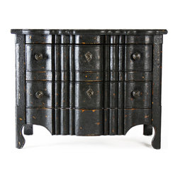 Kathy Kuo Home - Elysee Masculine Antique Black French Country Commode Chest - Form and function meet and flourish in this antique French Country chest of drawers. The distressed black pine chest houses two large drawers for clothing or linens. Carved details of escutcheon plates grace the front of this dresser and complete the romantic, architectural inspiration of the piece.