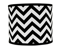 "Lamps Plus - Contemporary Black and White Chevron Drum Lamp Shade 12x12x10 (Spider) - Refresh any existing lamp with this stylish chevron lamp shade. A black and white color combination provides a striking and classic look. A chrome spider fitter completes the look. The correct size harp is included. Hardback lamp shade. Black and white chevron design. Drum shade. Chrome spider fitter. Cotton material. Unlined. 8"" harp. 1/2"" fitter drop. 12"" across the top and bottom. 10"" high. Made in USA.   Hardback lamp shade.  Black and white chevron design.  Drum shade.  Chrome spider fitter.  Cotton material.  Unlined.  8"" harp.  1/2"" fitter drop.  12"" across the top and bottom.  10"" high.  Made in USA."