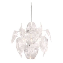 ZUO PURE - Gamma Ceiling Lamp Translucent - The Gamma ceiling lamp has holographic blades of translucent plastic encompassing a chrome body. It is UL approved. The height is fully adjustable.