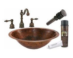 Premier Copper Productsu - Undermount Oval Copper Bath Sink w/ORB Faucet - BSP2_LO20FDB Premier Copper Products Master Bath Oval Under Counter Hammered Copper Sink with ORB Widespread Faucet, Matching Drain and Accessories