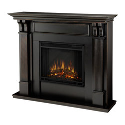 Real Flame - Ashley Blackwash Electric Fireplace By Real Flame - Give your home a warm glow with this black electric fireplace. The portable fireplace features handsome black washed pillars with curved supports,ultra-bright Vivid Flame LED technology,and will plug into any standard electrical outlet.
