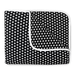 OLLI+LIME - CROSS CRIB QUILT - BLACK - Soft cotton crib quilt in Nordic-inspired black and white Cross design. Contrasting piping and logo detail. Polyfill insert.