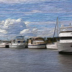 'On the Bay' A Digital Painting by Dennis Granzow, 14x11 - Image comes unframed. See framed sample below photo.