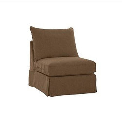 """PB Comfort Square Arm SectionalArmless Chair Knife-EdgeEverydaySuedeNutmegSlipco - Designed exclusively for our versatile PB Comfort Square Sectional Components, these soft, inviting slipcovers retain their smooth fit and remove easily for cleaning. Left Armchair with Box Cushions is shown. Select """"Living Room"""" in our {{link path='http://potterybarn.icovia.com/icovia.aspx' class='popup' width='900' height='700'}}Room Planner{{/link}} to select a configuration that's ideal for your space. This item can also be customized with your choice of over {{link path='pages/popups/fab_leather_popup.html' class='popup' width='720' height='800'}}80 custom fabrics and colors{{/link}}. For details and pricing on custom fabrics, please call us at 1.800.840.3658 or click Live Help. Fabrics are hand selected for softness, quality and durability. All slipcover fabrics are hand selected for softness, quality and durability. {{link path='pages/popups/sectionalsheet.html' class='popup' width='720' height='800'}}Left-arm or right-arm{{/link}} is determined by the location of the arm as you face the piece. This is a special-order item and ships directly from the manufacturer. To see fabrics available for Quick Ship and to view our order and return policy, click on the Shipping Info tab above. Watch a video about our exclusive {{link path='/stylehouse/videos/videos/pbq_v36_rel.html?cm_sp=Video_PIP-_-PBQUALITY-_-SUTTER_STREET' class='popup' width='950' height='300'}}North Carolina Furniture Workshop{{/link}}."""