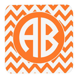 Caroline's Treasures - Chevron for Tennessee Personalized 2 Monogram Initial Foam Coasters, Set of 4 - Foam Coaster - 3 1/2 inches by 3 1/2 inches. Permanently dyed and fade resistant. Great to keep water from your beverage off your table and add a bit of flair to a gatering.  Match with one of the insulated coolers or huggers for a nice gift pack.  Wash the coaster in the top of your dishwasher.  Design will not come off.  Made from our mouse pad material and is heat resistant.
