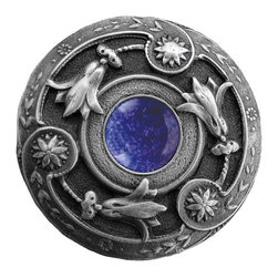 "Notting Hill - Notting Hill Jeweled Lily/Blue Sodalite Knob - Antique Pewter - Notting Hill Decorative Hardware creates distinctive, high-end decorative cabinet hardware. Our cabinet knobs and handles are hand-cast of solid fine pewter and bronze with a variety of finishes. Notting Hill's decorative kitchen hardware features classic designs with exceptional detail and craftsmanship. Our collections offer decorative knobs, pulls, bin pulls, hinge plates, cabinet backplates, and appliance pulls. Dimensions: 1-1/4"" diameter"