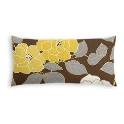 Brown & Yellow Modern Floral  Custom Lumbar Pillow - The perfect solo statement on a modern chair or bed, the rectangular lines of the Simple Lumbar Pillow are effortlessly chic. We love it in this stylized oversized floral in modern hues of mustard and lilac gray against chocolate brown.