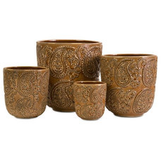 Traditional Outdoor Pots And Planters Paisley Planters - Set of 4