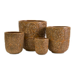 IMAX Worldwide Home - Paisley Planters - Set of 4 - Set of 4. Material: 100% Ceramic. Outdoor safe. 4.75-6.75-8.5-10.25 in. H x 4.5-6.25-7.75-9.5 in. D. Weight: 10.67 lbs.This set of 4 ceramic paisley planters would be great for displaying fresh or faux plants.
