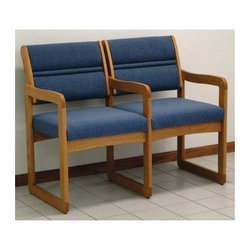 Wooden Mallet - Two Seater Chair with Center Arms (Medium Oak - Finish: Medium Oak and MochaPictured in blue upholstery. Contemporary style. Sled base legs. No tools required. Deep and plush upholstery. Vinyl fabric. 1 in. thick solid oak frame. Extra thick seat and back cushions for comfort and durability. Complies with California TB 117 fire code. Plastic seat base and metal brackets. Made in USA. Seat height: 19 in.. Seat: 19.5 in. W x 16.5 in. D x 14.5 in. H. Arm height: 25 in.. Overall: 42 in. W x 23.25 in. D x 33.5 in. H (54 lbs.). Weight capacity: 400 lbs.. Warranty. Assembly InstructionsStylish, economical and comfortable, Dakota Wave by Wooden Mallets Valley series ganged chair is built to last.