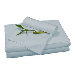 BedVoyage - Sheet Set, Sky, Queen - BedVoyage Bamboo Bed Sheets are made from 100% bamboo viscose, are subtly cool and extremely breathable, with a feel softer to the touch than a 1,000 thread-count Pima cotton. The linens will not pill nor fade. Bamboo is an easy care and durable fiber, and those with sensitive skin will benefit from the round bamboo fibers which are extremely smooth against the skin. Sheet sets include a deep-pocket fitted sheet, a flat sheet, and two pillowcases (1 for Twin size).