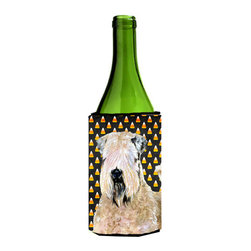 Caroline's Treasures - Wheaten Terrier Soft Coated Halloween Portrait Wine Bottle Koozie Hugger - Wheaten Terrier Soft Coated Candy Corn Halloween Portrait Wine Bottle Koozie Hugger Fits 750 ml. wine or other beverage bottles. Fits 24 oz. cans or pint bottles. Great collapsible koozie for large cans of beer, Energy Drinks or large Iced Tea beverages. Great to keep track of your beverage and add a bit of flair to a gathering. Wash the hugger in your washing machine. Design will not come off.