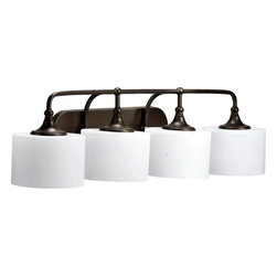 Quorum Lighting - Quorum Lighting Rockwood Transitional Bathroom / Vanity Light X-68-4-0905 - From the Rockwood Collection, the vintage curves and knob work create an elegant flair for this Quorum Lighting bathroom vanity light. This transitional bathroom lighting fixture has been finished in a stylish Oiled Bronze hue, which accentuates every vintage-inspired detail. Satin opal glass shades complete the look.
