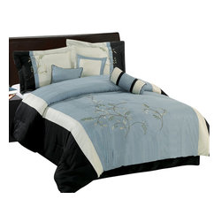 Bed Linens - Santa Fe Gray 7-Piece Comforter set, Queen Size, Gray - Material : 100% Polyester Face, Backing & Filling.