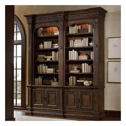 Hooker Furniture - Hooker Furniture Adagio Double Bookcase without Ladder and Rail - Hooker Furniture - Bookcases - 509110226 - Grand scale classic design and soft flowing shapes are married with a rich dark finish to give birth to the stunning Adagio collection.