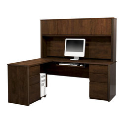 Bestar - Bestar Prestige + L-Shape Wood Computer Desk Set with Hutch in Chocolate - Bestar - Computer Desks - 9985269 - The traditional style and modern-day functionality of this collection can answer all of your office needs. Just imagine the possibilities. The Prestige + collection combines elegance with the durability and versatility needed by today's office. This 10 piece reversible modular collection offers a multitude of configuration possibilities for the home or office.