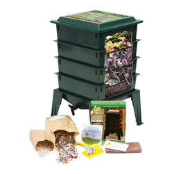 "The Worm Factory - The Worm Factory 360 Recycled Plastic Worm Composter - Green - WF360-GREEN - Shop for Garden Equipment from Hayneedle.com! Additional features: Odorless operation with Thermo Siphon Airflow design Recycles kitchen waste and junk mail into compost Use indoors during winter and outdoors in summer Improved lid and base design Holds up to 8 trays - largest worm composter of its kind 20-year warranty on parts and workmanship Similar in design to the popular Worm Factory 4-Tray Composter (CAD002) The Worm Factory 360 Recycled Plastic Worm Composter - Green features a thicker sturdier design with an improved base and lid. And it's now available in green to easily blend into its natural surroundings. This composter can hold up to 8 trays instead of 7 and it includes a handy compost accessory kit featuring a coir brick hand rake scraper and thermometer which make maintaining your system cleaner and easier. It even comes with an instruction video that's great for beginners. The Worm Factory 360 composter also features new Thermo Siphon Airflow design which allows air to enter on all four sides of the base exposing the bottom tray to an endless supply of fresh air without allowing light inside. The lids is also vented on all four sides which allows the heat and gases generated during composting to continually escape through the top. Ideal composting conditions occur at temperatures between 45 and 85 degrees Fahrenheit. We suggest using your composter outdoors during the summer and indoors during the winter to maximize efficiency. At capacity this composter can house over 6 000 worms which can consume 5-8 lbs. of food and paper waste per week. Purchase includes: Base 4 stacking trays Worm tea collection tray Spigot Lid Coir Brick Assembly screws Hand rack Scraper Thermometer Instruction book Instruction video What is The Worm Factory 360 and how does it work?The Worm Factory is a multi-tray worm composter that helps manage the composting process. Fill each stacking tray with kitchen scraps such as newspaper junk mail vegetables fruits egg shells coffee grounds paper and cardboard into nutrient-rich compost for your garden. Many experienced gardeners consider worm castings to be the very best compost available. Your plants will thrive with this all-natural compost. With ordinary worm composters sorting out the undigested scraps can be a messy inconvenient chore. Not with the Worm Factory 360. In this composter worms start in the bottom tray and migrate upward as they break down waste. This allows worms to separate themselves from the finished compost making it easy to access your nutrient-rich fertilizer and add it to plants and gardens without sorting worms. Additionally nutrient-rich moisture is captured in the collection tray and can be drained using the spigot and used to feed plants. This all-natural liquid fertilizer is known as ""worm tea."" What are the benefits of using The Worm Factory? The Worm Factory is Compact: With its square design and small footprint The Worm Factory 360 is a solution for anyone with limited space. This composter uses a tray stacking system that allows it to hold the largest capacity of compost in the smallest amount of space. The Worm Factory 360 is Odorless: The vented lid and base allow proper air flow and the detailed instruction manual helps you correctly manage your Worm Factory 360 to prevent odor. Odorless functionality means you can use your Worm Factory year round housing it anywhere including apartments kitchens garages porches or other convenient areas. The Worm Factory is Easy to Manage: The 16-page instruction manual ensures fast easy setup and provides detailed instructions on all-season management. Each tray holds 12.5 lbs. of compost which makes lifting and arranging trays effortless. The ventilation lid also contains a list of composting tips for quick convenient reference. The Worm Factory Saves Time: Let The Worm Factory do the work for you! Instead of spending time turning piles of compost and removing worms by hand the multi-tray system separates the worms from the compost so you don't have to. Also because the worms continually eat through your kitchen scraps and junk mail nutrient-rich compost is produced at a faster rate than traditional ways of composting. In full operation the Worm Factory houses over 6 000 worms and consumes 5 to 8 lbs. of food a week allowing you to harvest a full tray of nutrient-rich castings every month. This allows you to bring rich dark compost to your plants and gardens at a faster rate."