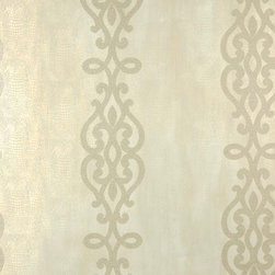 Brewster Home Fashions - Anaconda Champagne Glitter Stripe Wallpaper Bolt - With the shimmering mystique of a freshly husked oyster shell full of cultured pearls this fine wallpaper is a luxe fusion of eastern and western design. A classic ironwork swirl lines the walls with gold glitter placed beyond an exotic texture.