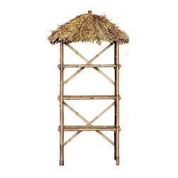 """Bamboo54 - Bamboo 3-Tier Palapa Shelf - Exotic bamboo shelf with thatched top makes the perfect pos rack for t shirts, mugs and more. Some of the uses that we have know of is for rum cakes, pool supplies and even dog food! Measures 75"""" H x 30"""" W x 15"""" D. Some assembly required."""