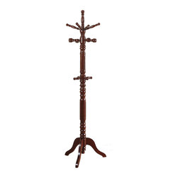 Adarn Inc. - English Fashion Solid Wood Coat Hat Rack Hanger Hooks Hall Tree Stand, Cherry - In pure English fashion, this prim and proper cherry / black / walnut wood finished coat rack features hooks for the entire family to store their coats. With hooks at two different levels, the little ones of your family wont have trouble hanging their belonging any day.
