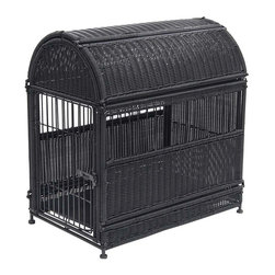 "Jeco - Medium Black Wicker Dog House  -  Round Top - ""Our beautifully-designed wicker dog crates will compliment any decor. The wicker-style is fully functional as a safe and comfortable dog house."