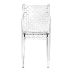 Kartell - Ami Ami Chair, Set of 2, Crystal - This iconic chair proves that it's hip to be square. Its simple, squared off lines achieve the pleasing look of weaving — all created through a complex process of using a single polycarbonate mold. Scratch- and shock-resistant, it's perfectly at home in any area of your house, or you can even take the party outside and stack them up at the end of the evening.