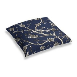 Blue Modern Chinoiserie Custom Floor Pillow - A couch overflowing with friends is a great problem to have.  But don't just sit there: grab a Simple Floor Pillow.  Pile em up for maximum snugging or set around the coffee table for a casual dinner party. We love it in this dark blue and white modern chinoiserie print with blossoms and birds branching out across a soft lightweight cotton.