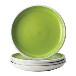 Rachael Ray - Rachael Ray Dinnerware Rise Green 4-Piece Stoneware Salad Plate Set - With eye-catching shape, style and two-tone hues, these plates are ideal for mixing and matching with other dishes in the Rise collection to create a personalized table setting. The salad plate set is crafted from durable glazed stoneware.