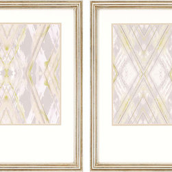 Paragon Decor - Argyle Set of 2 Artwork - Traditional argyle pattern is given a contemporary rending in muted shades of gray and green.  Silver finish frame.