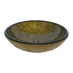 Novatto - AUREO Deep Crackled Bronze Hand Painted Glass Vessel Sink, 16.5-Inch Diameter - Aureo, from the exclusive hand painted vessel collection of Novatto, is luxurious with a sophisticated twist. Constructed of high tempered glass, this round vessel sink features a rich hand-painted bronze finish. Novatto uses advanced technology, including computerized glass processing, to produce glass basins with unmatched structural integrity and longevity. Internal testing has found these glass vessels to be very durable and forgiving. Items such as toothbrushes or small jewelry should not scratch the surface. For best cleaning results, a soft cloth with mild soap and water or a non-abrasive glass cleaner is recommended. Made with the highest standards of quality and creative design, Novatto sinks add artful function and excellent home value to any bath or powder room.