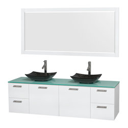 "Wyndham Collection - Amare 72"" Vanity, Green Glass, Arista Black Granite Sink, 70"" - Modern clean lines and a truly elegant design aesthetic meet affordability in the Wyndham Collection Amare Vanity. Available with green glass, acrylic resin or pure white man-made stone counters, and featuring soft close door hinges and drawer glides, you'll never hear a noisy door again! Meticulously finished with brushed chrome hardware, the attention to detail on this elegant contemporary vanity is unrivalled."