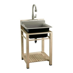 "Bayview Wood Sink Stand - Dimensions: 25 1/2""W x 25""D x 44""H. Made of hardwood. Installation option for Bayview utility sink."