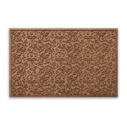 "Balsam Hill - Balsam Hill® StormGuard Doormat - Dark Brown Floral Scroll - 34"" x 52"" - The Balsam Hill Floral Scroll pattern StormGuard� floor mat serves as a heart-warming holiday invitation to your family and friends while keeping your entryways spotless and clean, even in the harshest of weather. Made out of premium synthetic fiber, this tough but elegant floor mat traps moisture, dirt, and dust while resisting everyday wear and tear, mold, and mildew. Our heavy-duty floor mat is able to retain its attractive appearance for many years and it also boasts an absorbency rate of over one gallon per square yard. Fits standard doorways, comes in the color dark brown. Free shipping when you buy today!"