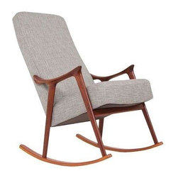 Used Danish Modern Teak Rocking Chair - A stylish Danish Modern Teak Rocking Chair, circa 1960s Denmark. Just the right way to kick up the Mid-Century vibe in your living room or nursery. This rocker has been newly refinished and reupholstered. Timeless!