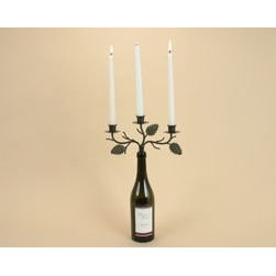 "Wine Bottle Triple Arm Candelabra Pine Cone Three Candle Holder Decor Centerpiec - Add a touch of the outdoors to your indoors with this rustic touch wine bottle candelabra. This fantastic new idea in home decor is the latest decorating rage. It's as easy as 1, 2, 3....You just have to 1. Reuse an empty wine or champagne bottle 2. Pop in the candelabra and candles 3. Then light the candles for a fashionable, yet unique designer look. This is the perfect gift for newlyweds, new home owners or any one who simply loves wine. The candelabra metal has an antiqued bronze color finish, 3 openings for candles and 3 decorative pine cones for a rustic feel and perfect finishing touch. The candelabra measures 10""w x 6""h without bottle. You only have to supply your own recycled empty bottle and candles."
