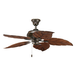 """Progress Lighting - Progress Lighting P2526-20 AirPro 52 Inch Indoor/Outdoor Fan in Antique Bronze - 52"""" indoor/outdoor fan with 5 blades and 3-speed reversible motor. Antique Bronze fan with Washed Walnut finish ABS blades in palm-style design."""