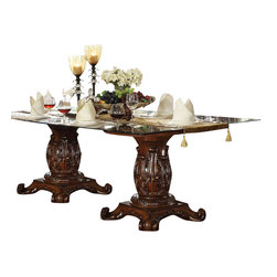 ACME Furniture - Acme Vendome Double Pedestal Dining Table with Glass Table Top in Cherry - This Vendome Double Pedestal Dining Table with Glass Table Top by Acme Furniture is a grand addition to your formal dining room. The tempered glass top shines next to the dark rich cherry finish of the wood base. The two pedestals have intricately carved motifs for a look that is sophisticated. Use this table with traditional arm and side chairs for a dining room perfect for entertaining and enjoying time with friends and family.