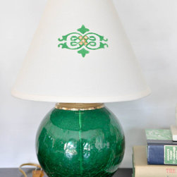 Emerald Green Table Lamp by Ambito Art & Design - This emerald green vintage table lamp is charming. I especially like the detailing on the shade. It could add a nice touch of color to your bedroom.