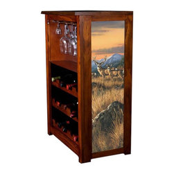 Kelseys Collection - Wine Cabinet 15 bottle Crossing the Ridge - Wine Cabinet stores fifteen wine bottles and glassware with licensed artwork by Rosemary Millette giclee-printed on canvas side panels  The frame, top, and racks are solid New Zealand radiata pine with a hand stained and hand rubbed medium reddish brown finish, which is then protected with a lacquer coat and top coat. The art is giclee printed on canvas with three coats of UV inhibitor to protect against sunlight, extending the life of the art. The canvas is then glued onto panels and inserted into the frames.