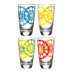 Iced Tea Tumblers - Set of 4 - Whether you like iced tea crisp and tannic or extra sweet, you'll love serving your latest recipe in these Iced Tea Tumblers. They give your tabletop a pop of color and as a set, they're beautiful to look at and cooling to the eye. Bottoms up!