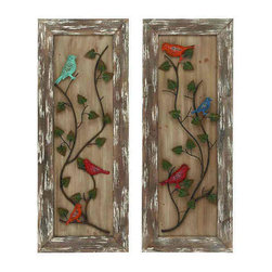 UMA - Charming Visitors Bird Art Set of 2 - Pretty, colorful birds are perched on leafy vines inset on wooden panels that have been given a distressed finish.