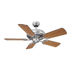 "The Pine Harbor 42"" Ceiling Fan - A 42"" ceiling fan for a variety of spaces, Satin Nickel Finish with Reversible Blades. Weight: 16. 20 lbsFinish: Satin NickelFan Blade Color: Chestnut / MapleBulbs Included: NoDownrod Width: 0. 50Blade Pitch: 14. 00Safety Rating: UL, CULVoltage: 120"